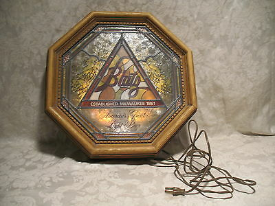 Vintage 1978 Blatz Lighted Stain Glass Wood Look Beer Sign