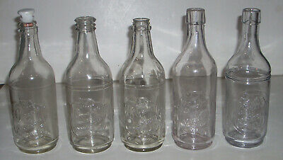 Lot of 5 Different Antique / Vintage Citrate of Magnesium Glass Bottles