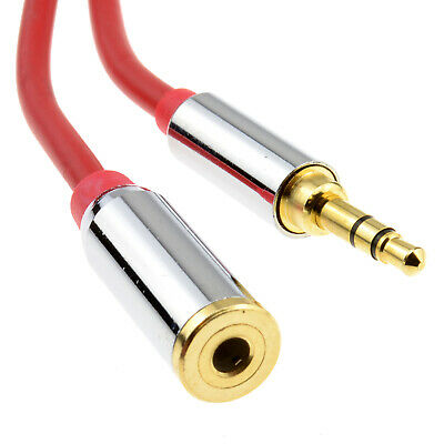1m PRO METAL RED 3.5mm Stereo Jack Headphone Extension Cable [006917]