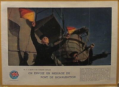 2 Original British Wwii Posters - New English Battleship, Signalmen Rare