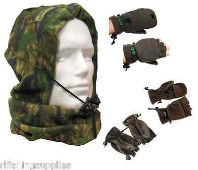 Carp Fishing Fingerless Fleece Gloves Mittens + Camo Fleeced Snood Hunting