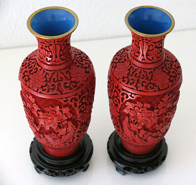 big 20th Pair of Vases - Mirror inverted Original Chinese Cinnabar Lacquer RARE