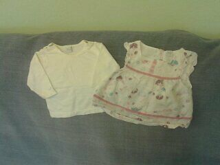 Baby Girls 0-3 Months - White & Mauve Floral Tunic & Long Sleeve Top Set
