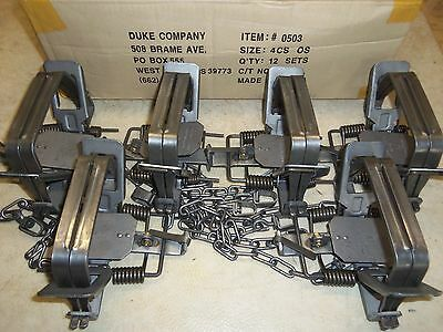 6 New Duke # 4 OFFSET 4X4 Coil Spring Traps  Beaver Bobcat Coyote Lynx Trapping