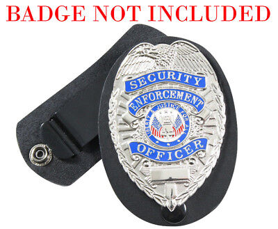 badge holder leather clip on swivel snap rothco 1133
