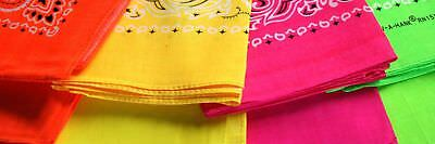 "100% Cotton NEON Paisley or Solid Bandanna Bandana 4 Colors 22"" X 22"""