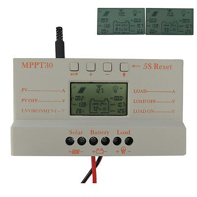 30A MPPT Solar Panel Regulator Battery Charger Controller 12V/24V With LCD USB