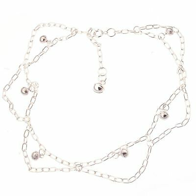 "925 Sterling Silver Fancy Indian Ankle Chain Anklet - 9"" with 1"" extender chain"