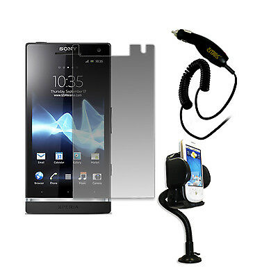 EMPIRE Screen Defender+Mount Holder+Car Charger for Sony Ericsson Xperia S T26i