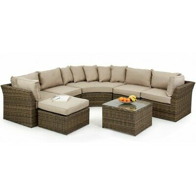 Dorchester Rattan Garden Furniture Rounded Outdoor Corner Group Sofa Set