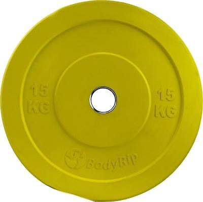 2 X 15Kg IWF Coloured Olympic Bumper Weight Disc Plates Fitness Gym
