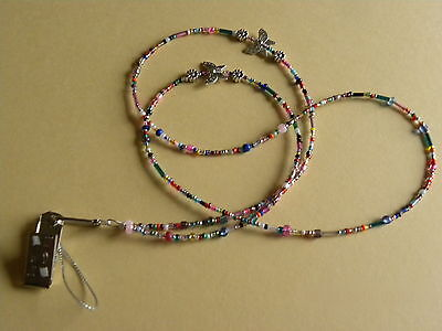 Multi Coloured Butterfly Flowers  Beaded Bead Lanyard Spectacle/Glasses Chain