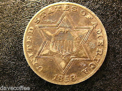 1858 Three Cent Silver Trime-Decent Speciman-Free Shipping