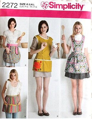 APRON Half & Full*Great Pockets! Simplicity Pattern 2272 NEW Size Misses S-M-L