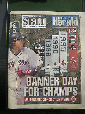 April 11, 2005 Boston Herald Newspaper Banner Day For Champs Cover with Overlay