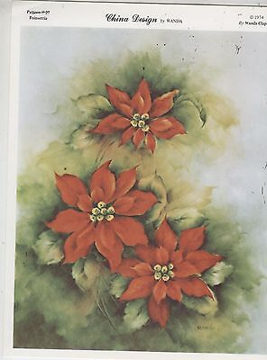 Poinsettia  by Wanda Clapham  China Painting Study 1974