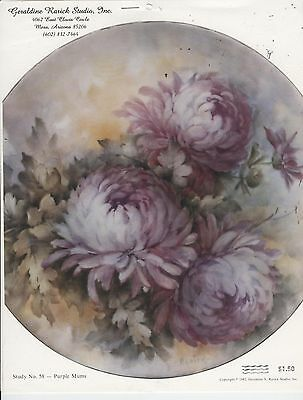 Purple Mums by Geraldine Rarick China Painting Study 1982