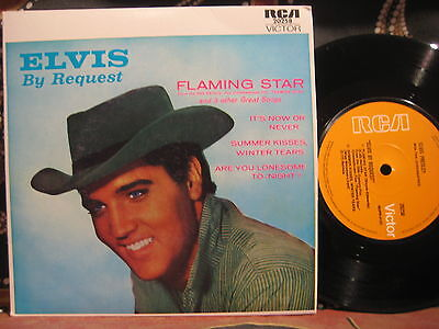 ELVIS PRESLEY By Request ~ Flaming Star 1970s RE Australian Pic Sleeve 45 EP