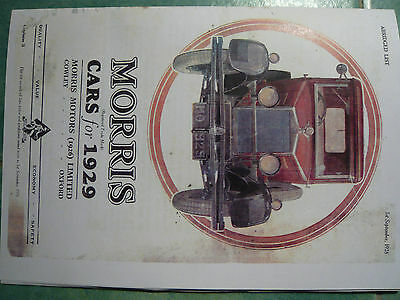 morris car sales brochure 1928 for 1929 cars