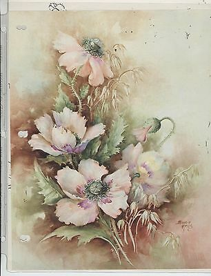 Pink Poppies & Wild Oats #56 by Sonie Ames  China Painting Study 1972