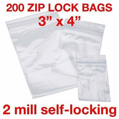 """200 Piece 3"""" X 4"""" 2Mil Zip Lock Poly Reclosable Plastic Bags Clear Baggies"""