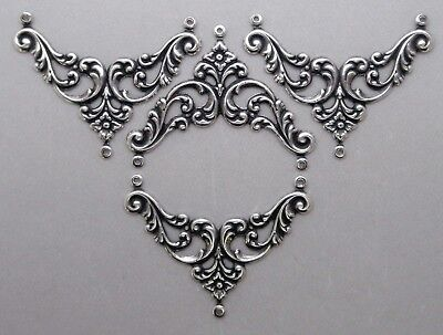 """#1597 ANTIQUED SS/P OPEN FILIGREE 3 RING """"Y"""" CONNECTOR - 6 Pc Lot"""