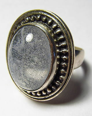 Attractive Natural Moss Agate Sterling Silver Ring Size 9.75     AGR116