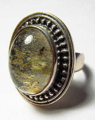 Attractive Natural Moss Agate Sterling Silver Ring Size 9.25     AGR119