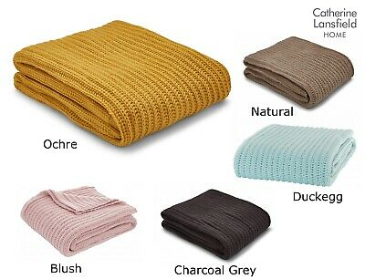 Chunky Knit Knitted Soft Cosy Throw Blanket Wrap By Catherine Lansfield New