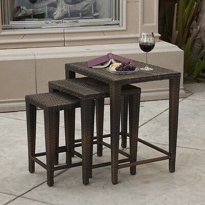 Outdoor Patio Furniture Set of 3 Nested PE Wicker Tables