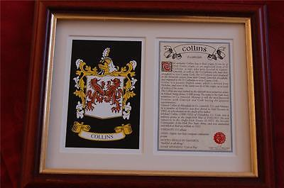 COLLINS Family Heraldic FRAMED Coat of Arms / Crest and History