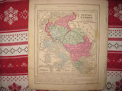Antique 1866 Central Europe Map Turkey Austria Greece Italy Germany Prussia Map