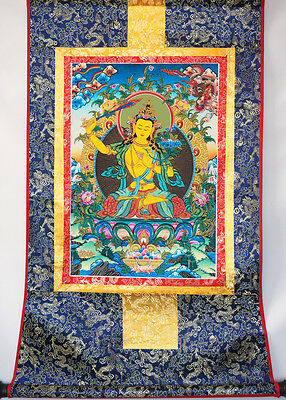 "* Fully Brocaded 32"" Tibet Thangka Tapestry: Manjushri,cut Off All Obstacles ="