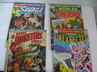 Silver 4 Comic Lot DOC SAVAGE #5, Worlds Unknown #3 Where Monsters #15, Ta COM54