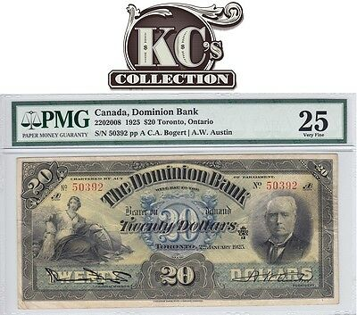 "1925 Dominion Bank ""Toronto"" $20 in PMG VF 25"