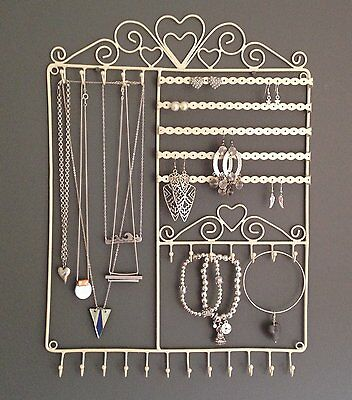 Large Jewellery Tree Wall Hanger Display Holder Cream Metal Necklace Earrings