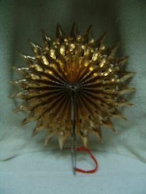 Antique Christmas Fan Fold Up Gold Star Feather Tree Topper  W Germanyfree Ship