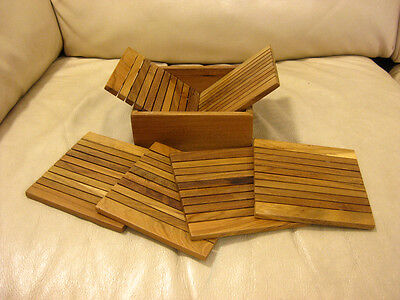 Set of 6 Handmade Coasters with the Holder - Natural Wood, New !