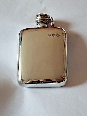 4oz stamped pewter hip flask with captive top