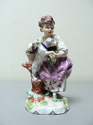 "BEAUTIFUL 19TH C. ROYAL VIENNA ""BEEHIVE"" PORCELAIN FIGURINE ""GIRL with DOG"""