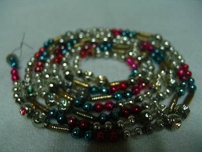 VINTAGE MULTI COLOR MERCURY GLASS BEAD CHRISTMAS TREE GARLAND, INDENTS FREE SHIP