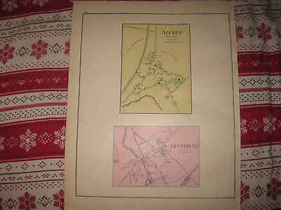 Antique 1901 Alfred Village Kennebunk York County Maine Handcolored Map Fine Nr