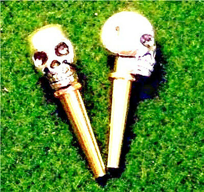 2- Cribbage Board Tibetan Silver Metal Skull-Top Pegs With Velvet Pouch  USA  a
