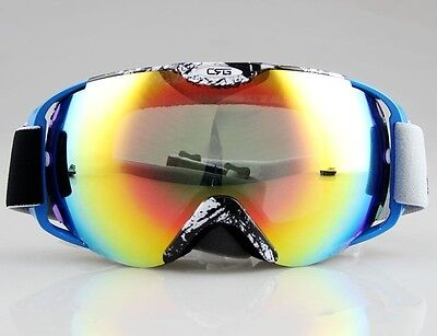 NEW BLACK&WITHE BLUE FRAME  SKI SNOWBOARD GOGGLES DOUBLE COLOURED LENS