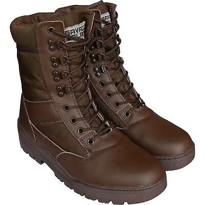 Brown Army Leather Combat Patrol Boots Cadet Military Work Security Half Leather