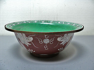 NICE 19th C. CHINESE CLOISONNE ENAMEL ON BRONZE BOWL, DRAGONS & FLAMING PEARLS