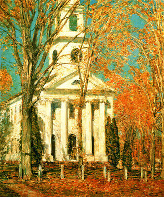 New England Church At Old Lyme Connecticut 1905 Painting By Childe Hassam Repro