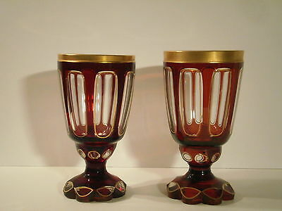 Antique MOSER BOHEMIAN Ruby Glass Chalices Goblets SALE!!