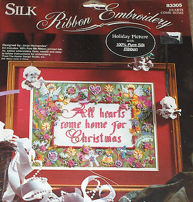 "Bucilla ""Hearts Come Home"" Christmas Ribbon Embroidery Kit NIP Angels Floral++"
