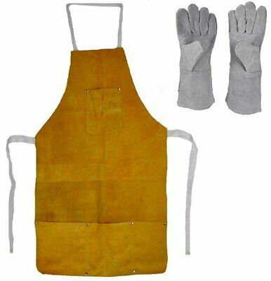 Leather Heat Resistant Safety Apron + Glove Set Melting Refining Gold Silver 32""